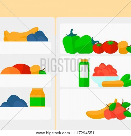 Background of  refrigerator full of fruits and vegetables.