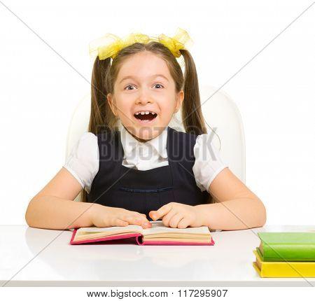Little schoolgirl isolated on white
