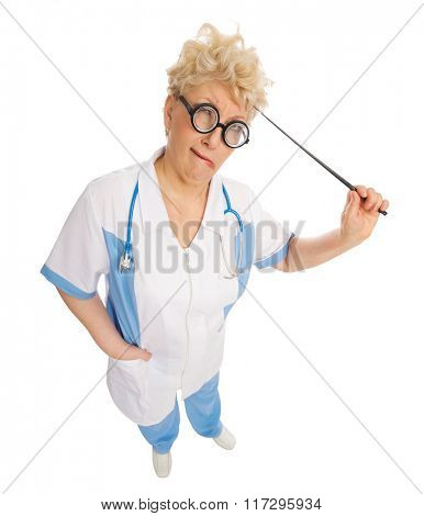 Funny mature doctor with pointer isolated
