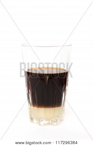 Dripping coffee with condensed milk at the bottom