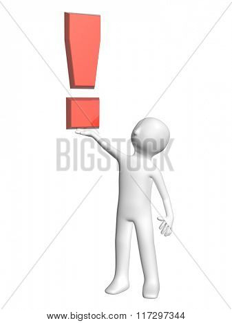3d man with exclamation mark of red color. Isolated on white background
