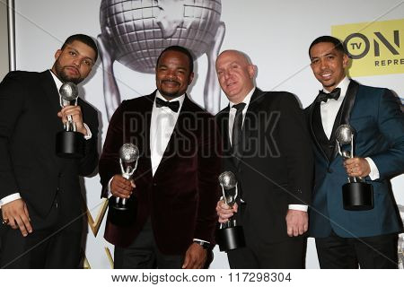 LOS ANGELES - FEB 5:  O'Shea Jackson Jr., F. Gary Gray, Scott Bernstein, Neil Brown Jr. at the 47TH NAACP Image Awards Press Room at the Pasadena Civic Auditorium on February 5, 2016 in Pasadena, CA