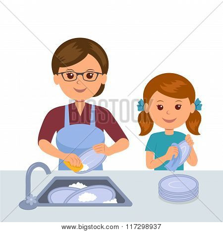 Mother and daughter washing the dishes. Concept joint work of mothers and daughters. Daughter helps