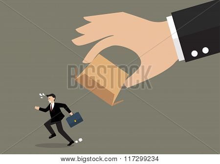 Businessman Running Away From Cardboard Box