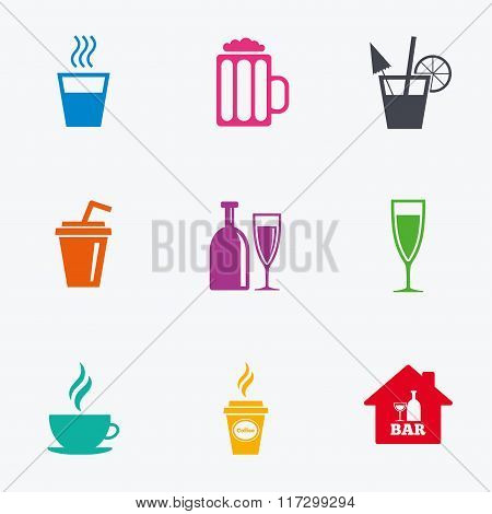 Cocktail, beer icons. Coffee and tea drinks.