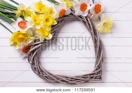 Decorative Heart And  Yellow Narcissus Flowers