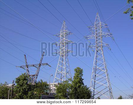 Transmission Equipment On Blue Sky