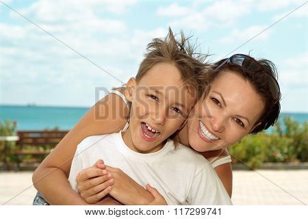 Mother and child and sea