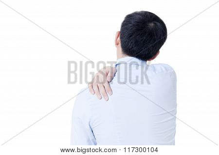 Young Asian Businessman Having Shoulder Pain In White Isolated