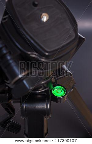 Tripod green bubble level (selective focus)