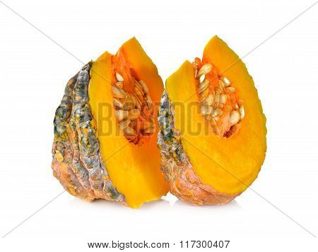 Portion Cut Pumpkin With Seed On White Background