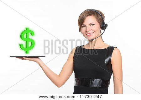 businesswoman smiling and holding a tablet, with dollar sign, concept of business success