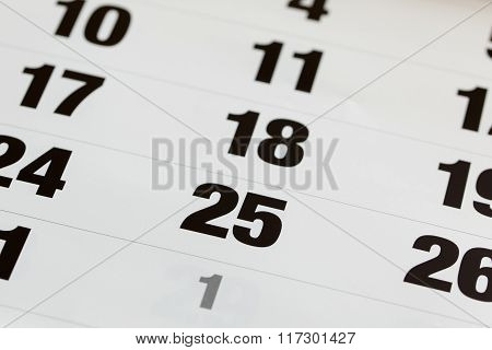 Dates A Blank Calendar. Ready For Adding Circle Or Preferential Mark Or Text On It. Important Date C