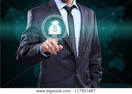 Businessman presses digital interface dollar sign