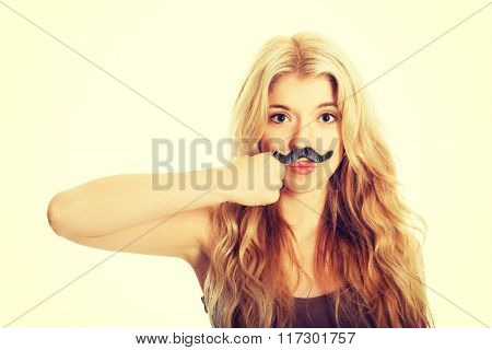 Blonde student with mustache