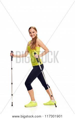 Nordic smiling walking woman
