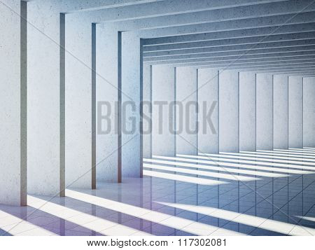 Architectural design of modern concrete hall. 3d rendering.