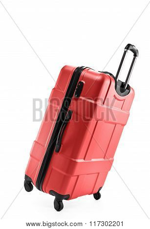 red suitcase plastic on two wheels