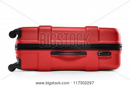 red suitcase plastic. lying horizontally