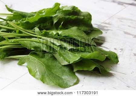 sorrel on a wooden table