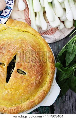 Homemade pie with eggs