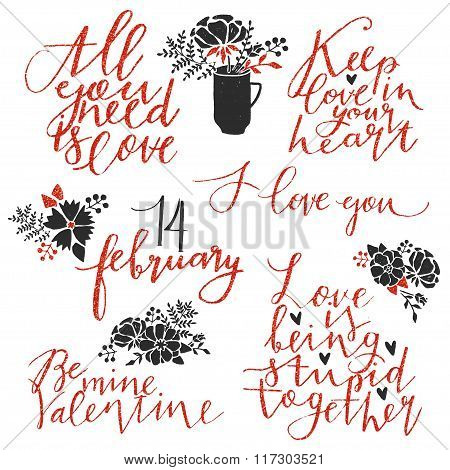 Valentines day lettering collection.