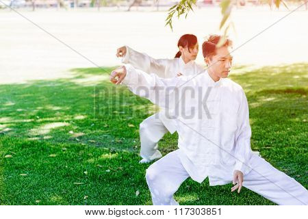 People practicing thai chi in park
