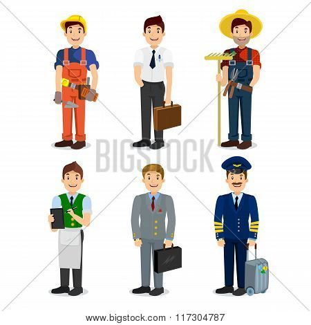 Set of colorful profession man flat style icons: pilot, businessman, builder, waiter, farmer, manage