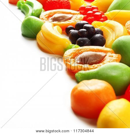 Fruit jelly candies isolated on white
