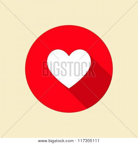 Heart Icon With Long Shadow