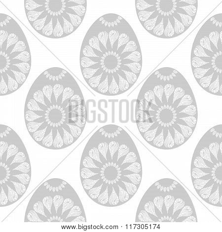 Easter eggs monochrome seamless pattern