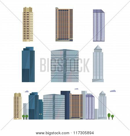 Office city building. Downtown landscape, skyline. Office Buildings vector illustration.