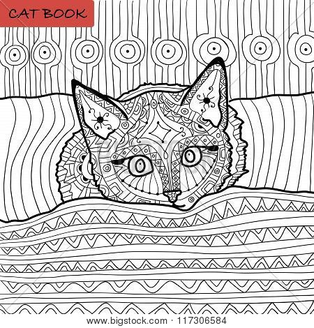coloring book for adults - zentangle cat book, the kitten on the