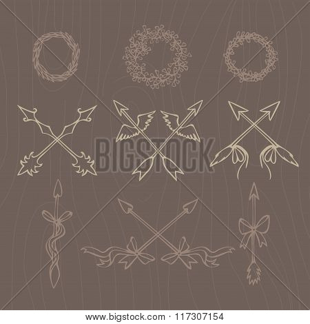 Hand Drawn Illustration. Vintage Decorative Lovely Set Of Laurels, Branches And Wreaths. Doodle Gree