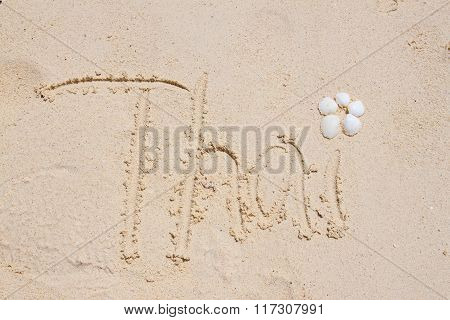 Thai Lettering on Sand