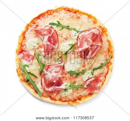 Pizza with prosciutto and mozzarella. Isolated on white background