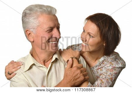 Happy senior father  with daughter
