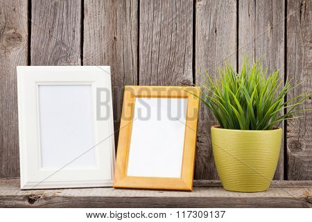 Blank photo frames and plant on shelf in front of wooden wall