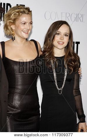 Ellen Page and Drew Barrymore at the Los Angeles Premiere of