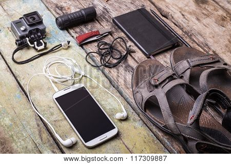 Men's Travelling Stuff Mock Up On Wood Background