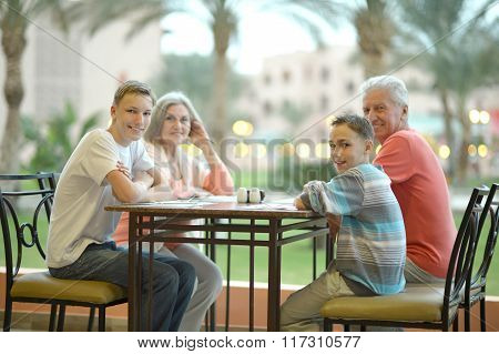 Happy family on the table