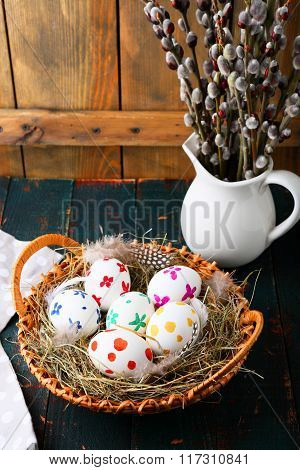 Colored Easter Eggs And Willow Branches
