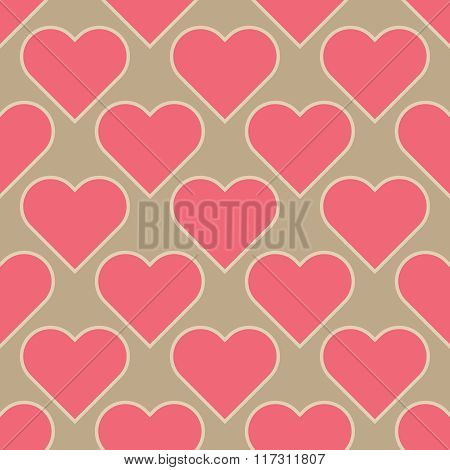 Vector Seamless Texture,  Pink Hearts Isolated On Light Brown Background