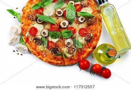 Delicious pizza and vegetables on white background, close up