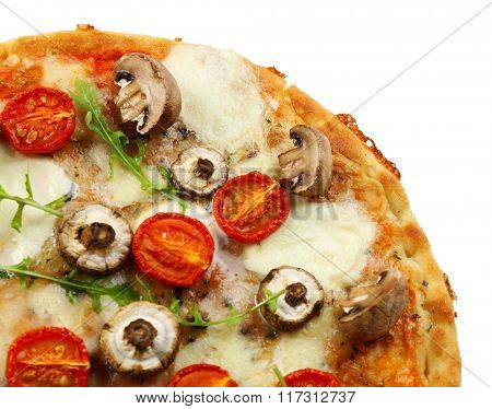 Tasty pizza decorated with mushrooms isolated on white background, close up