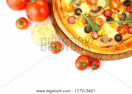 Delicious pizza with vegetables, isolated on white