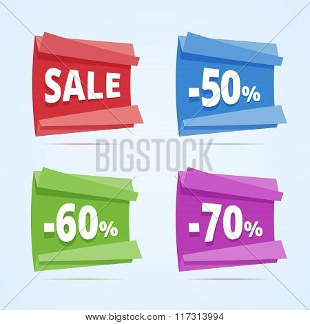 Set Of Paper Style Discount Banners.