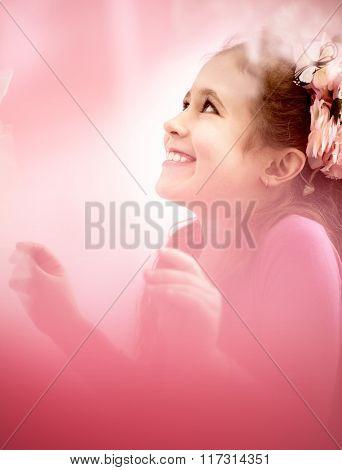 Dreamy portrait of a little girl