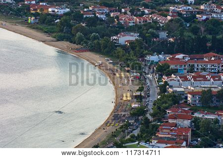 Aerial view of a beach at small greek village Toroni in Sithonia