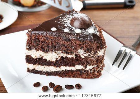 Piece of chocolate cake in white plate closeup